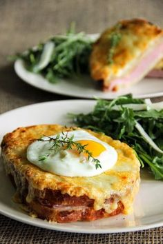 Taking the ordinary ham sandwich to the next level. Croque Monsieur and Croque Madame! Gruyere and bechamel make this so delicious! Breakfast And Brunch, Breakfast Recipes, Grilled Ham And Cheese, Sandwich Toaster, Delicious Sandwiches, Paninis, Tostadas, Food Porn, Cooking Recipes