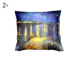 Coppia di cuscini arredo puro cotone Van Gogh Rodano - 40x40 cm