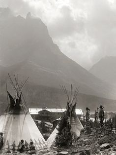 Blackfeet Indian Camp, Glacier National Park, Montana, Circa 1916