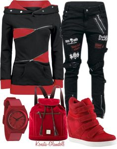 Rot-Schwarzes Outfit for Harley Quinn Gothic Outfits, Emo Outfits, Teen Fashion Outfits, Casual Outfits, Black Outfits, Fashion Mode, Punk Fashion, Gothic Fashion, Womens Fashion