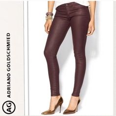 "AG burgundy coated skinnies I have this style in 2 other colors & I absolutely lovee them! Sadly this pair is just a bit too small for me. Perfect to tuck into boots or to wear w/heels •The skinniest style legging. Streamlined silhouette from hip to ankle, glazed in a wine-colored coating. 7½"" rise. Slim skinny fit through legs; 8"" leg openings. Inseam, approx. 30""L. Five-pocket style. Button/zip fly; belt loops. Cotton/modal/polyurethane; machine wash. Made in USA of Italian material❗️First…"