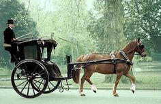 (Think Sherlock Holmes.) A Hansom cab is a type of horse-drawn carriage first designed and patented in 1834 by English architect Joseph Hansom. Fosse Commune, Baker Street, Horse Cart, Old Wagons, Horse And Buggy, Types Of Horses, Horse Carriage, Cabriolet, Horse Drawn
