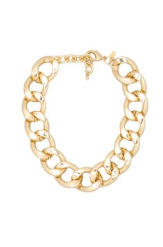 Kenneth Jay Lane Large Flat Link Lobster Claw Clasp Necklace in Polished Gold from REVOLVEclothing