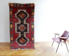 Vintage Rug // 195x99 cm Red Boho Kilim // Hand Made Tribal