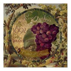Wines of France, Vintage Wine Label, Pinot Noir Print