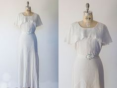 Vintage 1930's Art Deco Dress Creamy White Crepe De Chine Wedding,GardenParty, Gatsby, Flapper,Capelet Collar Dress