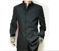 S/&S-Men Vintage Classic Linen Chinese Mandarin Collar Frog Button Shirt Tang Suit