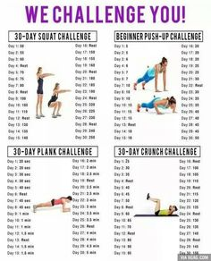 My april Workout Challenges! Squat Challenge, Push Up Challenge, Plank Challenge, Crunch Challenge Fitness Workouts, Fitness Herausforderungen, Fitness Motivation, Fitness Goals, At Home Workouts, Health Fitness, Fitness Challenges, Exercise Challenges, Physical Fitness