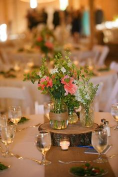 southern inspired wedding centerpieces, burlap mason jar wedding centerpieces