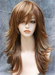 Long Mixed color Layered Side Wavy Hairstyle Synthetic Capless Wig 18 Inches