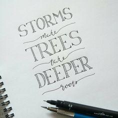 "Hand Lettering - Purple Sketch Designs   ""Day 9 for #letteritseptember ""storms make trees take deeper roots""  #lettering #practicelettering #practicepracticepractice #practicemakesprogress…"""