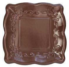 Elise Cocoa Bean 7 Inch Embossed Paper Plates . $2.77. The look of Italian pottery; the convenience of paper. Rich color, high gloss finish and a sturdy 26 pt. board weight paper. Plates measure 7 inches square, 8 plates per package.