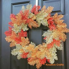 """Fall Wreaths for Front Door! Green and Orange with personalized """"M"""". #Kreative Crafts"""