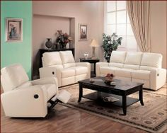 White Leather Sofa Kingslee Contemporary Leather Dual Reclining Sofa Set CO by Coaster Comfortable seating