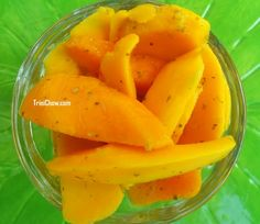 Mango Chow (we used ripe mangoes to bump up the contrast between the sweet & spicy flavours).