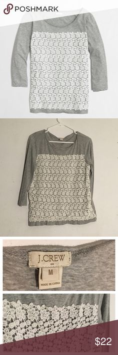J. Crew Lace Front Quarter Sleeve Top Size: medium // comfy cotton top with lace front detail • good condition • pre loved J. Crew Tops Tees - Long Sleeve