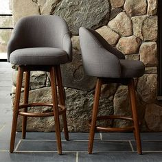 West Elm Saddle Stool in Counter and Bar heights Pecan stained legs