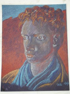 Pete Holbrook -  another coloured pencil copy of Augustus John's painting of Dylan Thomas.