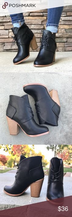 Tie Lace Up Black Ankle Bootie Heels •Brand New In Box•Black•True to Size• Lace Up Design• Stack Chunky Heel• All Vegan Materials• Feel Free to Ask Questions!• 🌼Visit www.thefairyden.com🍃Free Shipping on all orders over $35 and 20% Off Promo Code🍃🌼 Shoes Ankle Boots & Booties