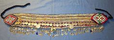 "Belt Wide Studs Coins Bells Afghan Kuchi Tribal Alpaca Silver Belly Dancing 44"" long"