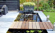 Passie voor Tuinen - All For Backyard Ideas Patio Pond, Ponds Backyard, Backyard Pergola, Backyard Landscaping, Fish Pond Gardens, Back Gardens, Hot Tub Garden, Water Garden, Ideas Estanque