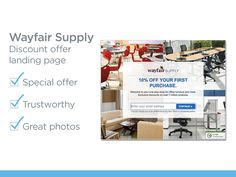 Wayfair Supply created this simple and super visual landing page. They offer a special discount offer and prove their trustworthiness by including a Google badge. #b2b #marketing #landingpage