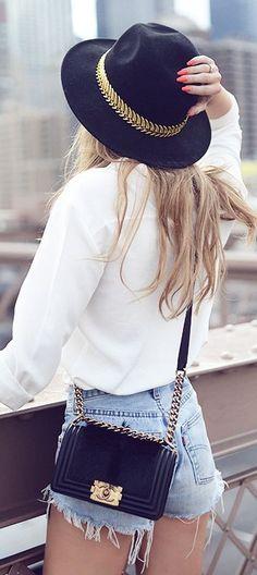 #summer #fashion / denim + fedora