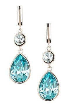 Light Turquoise Swarovski Crystal Dangle Earrings