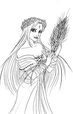 Demeter Greek Goddess Coloring Pages Detailed Coloring Pages, Flower Coloring Pages, Colouring Pages, Adult Coloring Pages, Greek Mythology Tattoos, Greek Mythology Art, Hades, Demeter Greek Goddess, Roman Gods