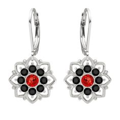 Lucia Costin Sterling Silver Black/ Red Earrings