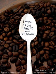 I Love You From Here to City State Coffee Spoon.  by Sycamore Hill, $18.00 I Love You From Here to City State Coffee Spoon. CUSTOM. PERSONALIZED. Long Distance Love. The ORIGINAL Hand Stamped Vintage Coffee Spoons