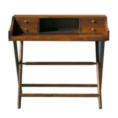 Stained solid teak desk W 102cm Explorateur