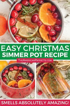 How to make an easy Christmas simmer pot - a delicious stove top potpourri for the holidays! Made with cinnamon, orange, spices, and pine branches, this will make your home smell absolutely amazing! Simmering Potpourri, Stove Top Potpourri, Potpourri Recipes, House Smell Good, House Smells, Simple Christmas, Christmas Diy, Christmas Scents, Mason Jar Candles