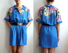 LILOU French Vintage Blue Polkadots with Floral Print by bOmode, $49.00