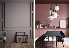 he new neutral. Office Decor, Home Office, Terracotta, Interior And Exterior, Interior Design, Piece A Vivre, Black Table, Pink Walls, Table And Chairs