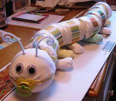 Diaper caterpillar! Cute baby shower gift.