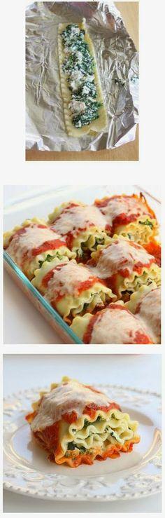 Healthy Spinach Lasagna Rolls - original recipe via Denney {The Girl Who Ate Everything} I Love Food, Good Food, Yummy Food, Tasty, Vegetarian Recipes, Cooking Recipes, Healthy Recipes, Cooking Tips, Spinach Lasagna Rolls