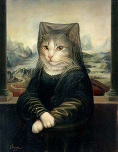 Anthropomorphic art by Melinda Copper - cat in costume portrait.