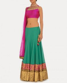 Ginni Singh 2014 Collection Kelly Green #Lehenga With Fuschia Pink #Blouse & Dupatta.