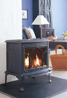 Jotul GF 100 DV II Nordic QT Gas Stove: Based on a traditional Norwegian design, the GF 100 DV II Nordic QT is Jotul's most compact, freestanding gas stove. It offers zero clearance for the easiest and most economical installation. Optimized for Jotul's innovative Burnera technology, this model delivers realistic flames with minimal loss of heat and is perfect for bedroom or bath.