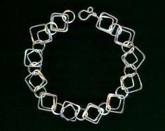 Keten Link zilveren grote vierkante ketting door WvWorksJewelry