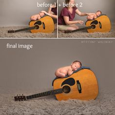 Behind the Scenes, composite before and after, Tiffany Walensky Photography. tampa newborn photographer. guitar.