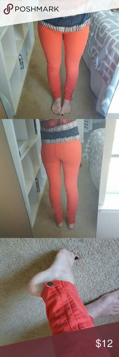 Red jeans Super cute red jeans with zipper and snap cuffs. Worn a few times but no visible wear. Forever 21 Jeans Skinny