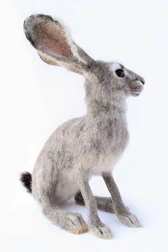 Needle felted, life size jack rabbit by Yvonne's workshop! Find Yvonne's workshop on etsy.