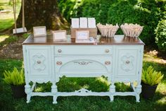 vintage furniture at the entrance to the ceremony | Sam Stroud #wedding