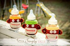 Cute monkey baby bottle covers by SimplyTale on Etsy, $14.99