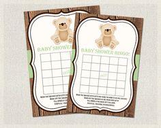 Baby Shower BINGO Teddy Bear Baby Shower Bingo by PixieBabyShower