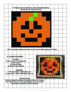 Jack -O-Lantern twister pattern-jean-jackolantern. Quilting Tutorials, Quilting Projects, Quilting Designs, Sewing Projects, Quilting Ideas, Halloween Quilts, Quilt Block Patterns, Quilt Blocks, Twister Quilts