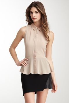 Sequin Collar & Lace Back Peplum Top by a.maglia on @HauteLook