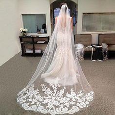 Newdeve Wedding Veils Lace Edge Applique 2 Tiers 3 M Fancy Elegant Bridal Veils